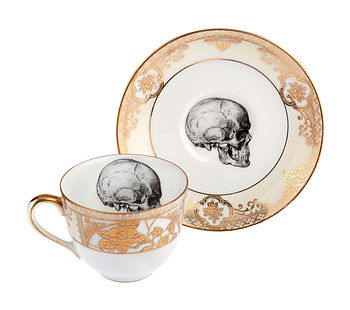 Upcycled Skull Design Gold Tea Cup And Saucer