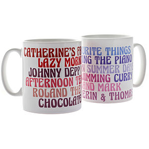 Personalised Favourites Ceramic Mug - gifts for mothers
