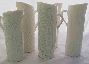Lace Embellished Porcelain Jugs