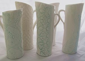 Lace Embellished Porcelain Jugs - interior accessories