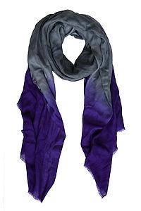 Grey Purple Cashmere Scarf