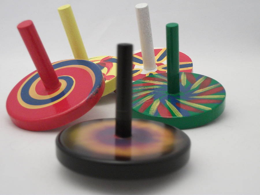 painted wooden spinning top by croglin toys & designs ...