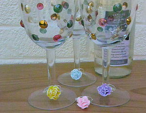 Set Of Four Rose Wine Glass Charms