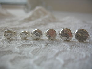 Silver Nugget Studs - women's jewellery