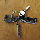 Recycled Sail piston hank key ring with bottle opener