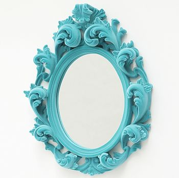 Flocked Versailles Mirror in turquiose