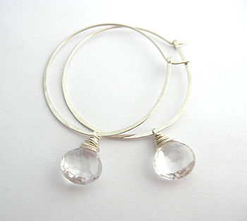 Silver Hoop Earrings With Crystal Quartz