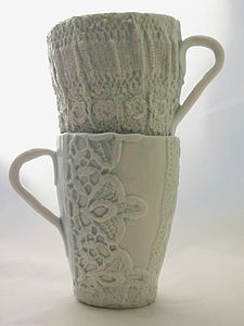 Lace Or Crochet Detail Porcelain Mug