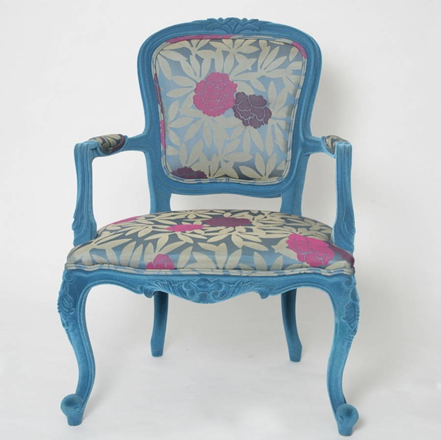Flocked Louis Salon Chair