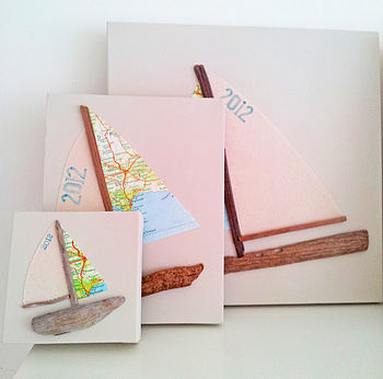 Driftwood, Canvas & Map Sailing Boat