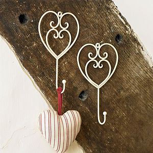 Pair Of Country Cream Heart Hooks - hooks, pegs & clips