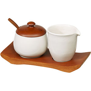 Ceramic And Mahogany Cream And Sugar Set