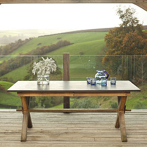 Oak Garden Slate Top Refectory Style Table - garden furniture