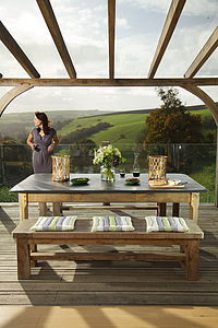 Large Oak Garden Table With Slate Top - furniture