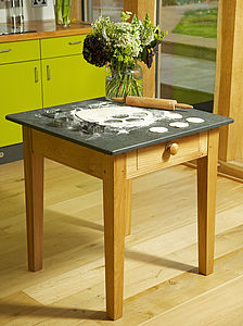 Oak Pastry Table Slate Top - dining tables