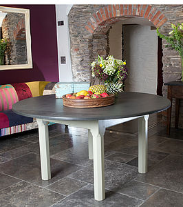 Painted Round Slate Top Farmhouse Table - dining tables