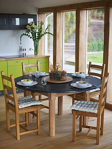 Oak Round Slate Top Farmhouse Table - furniture