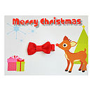 Rudolph and Red Mini Bow clip