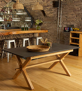 Oak Refectory Style Slate Top Table - dining tables