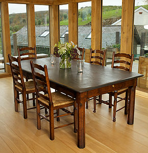 Oak Or Antique Style Slate Top Table - dining tables