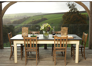 Large Painted Slate Top Farmhouse Table - dining tables
