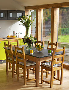 Medium Oak Slate Top Farmhouse Table - dining tables