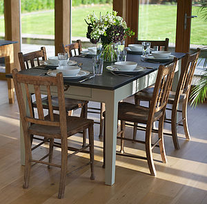 Medium Painted Slate Top Farmhouse Table - dining tables
