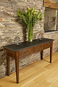 Oak Slate Top Console Table