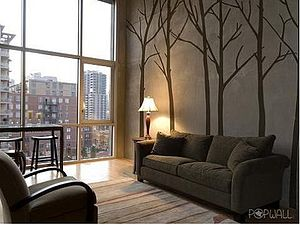 Wall Stickers: Winter Trees Brown - bedroom