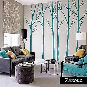 Wall Stickers: Winter Trees Turquoise - wall stickers