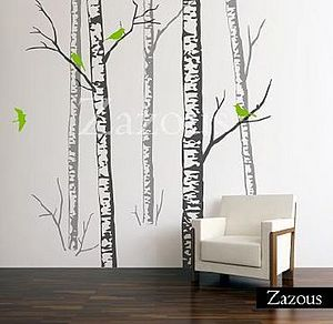 Wall Stickers: Birch Forest Grey - bedroom