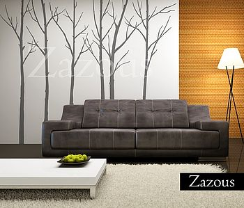 Wall Stickers: Winter Trees Grey