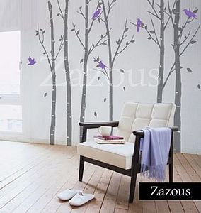 Wall Stickers: Urban Forest Grey - bedroom