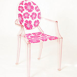 Flocked Louis Clear Chair - office & study