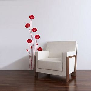 Wall Stickers: Poppies Red - living room