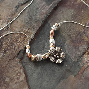 Keimau Mixed Metal Flower Necklace - necklaces & pendants