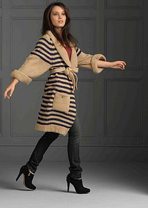 Salcombe Stripe Cardigan In Indigo And Barley Stripe