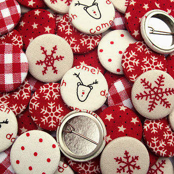 Red And Cream Badges Xmas Stocking Filler