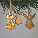 Three Little Gold Angel Decorations