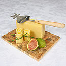 Juniper Wood Mosaic Cheese Board with Juniper Handle Cow Silhouette Cheese Slice