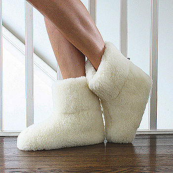 Merino Sheep Wool Booties in Cream