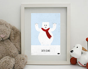 'Santa Claws' Print Unframed - children's room