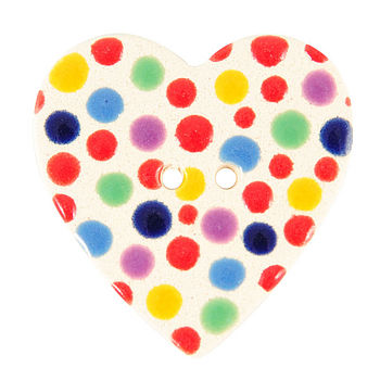 Four Multi Coloured Heart Ceramic Buttons