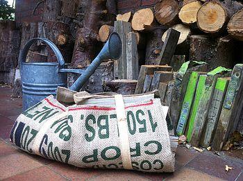 Reclaimed Coffee Sack Log Carrier