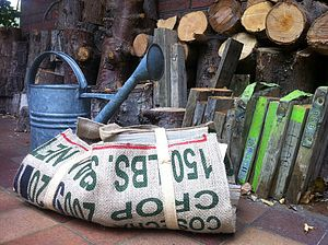 Reclaimed Coffee Sack Log Carrier - garden tools & equipment