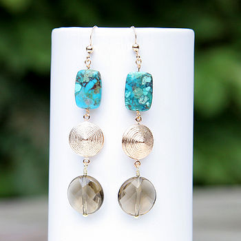 Chinese Turquoise And Smokey Quartz Earrings In Gold