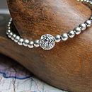 Silver Beaded Bracelet Made With Swarovski Crystals