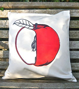 Screen Printed Apple Cushion - bedroom