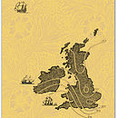 UK Map Tea Towel