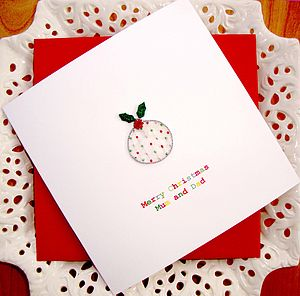 Personalised Embroidered Xmas Pudding Card - view all sale items